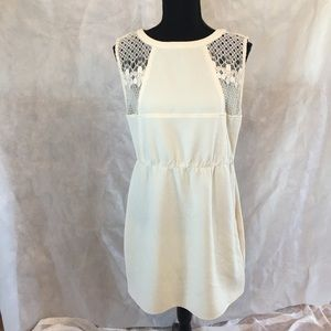 Tulle size L white lace topped dress.   Easy care